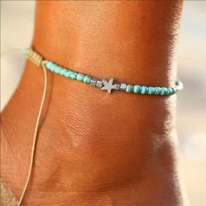 Leather ankle bracelet - blue beads w/ silver star
